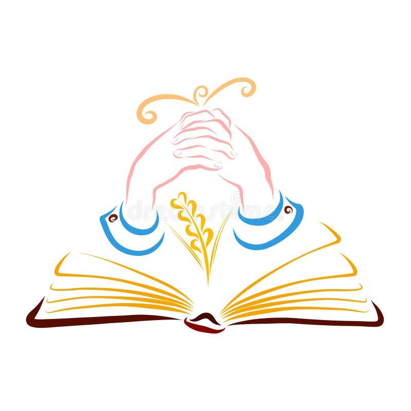 Een open boek, een tarweaar, het bidden handen en een vogel die omhoog vliegen royalty-vrije illustratie