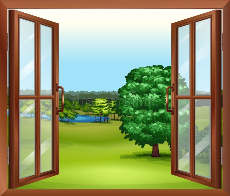 Een open houten venster vector illustratie