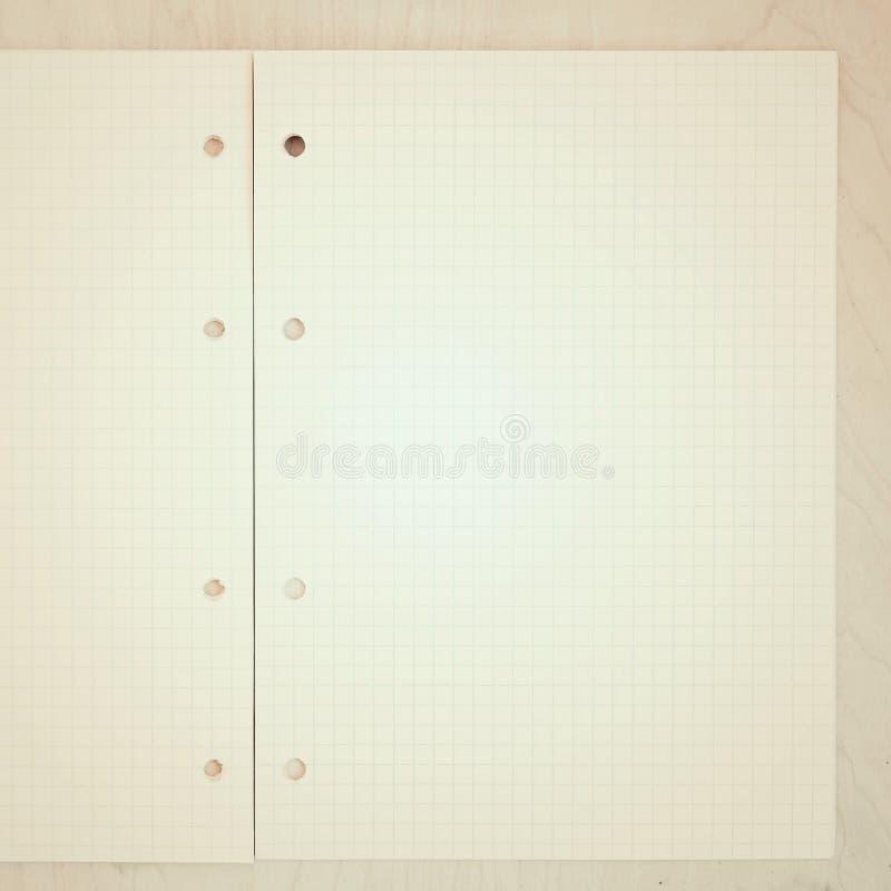 Een open leeg notitieboekje, pagina's in een kooi stock afbeeldingen