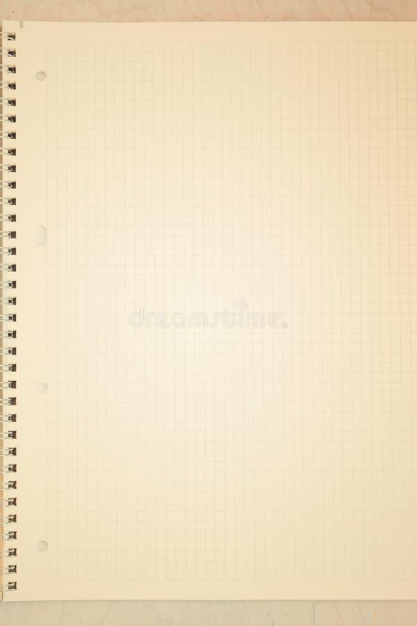 Een open leeg notitieboekje, pagina's in een kooi stock fotografie
