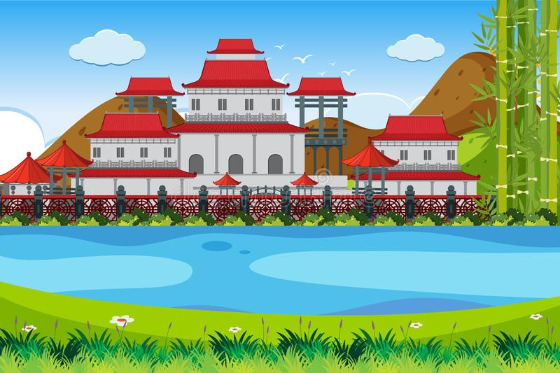 Een openluchtscène met een Aziatisch gebouw royalty-vrije stock foto