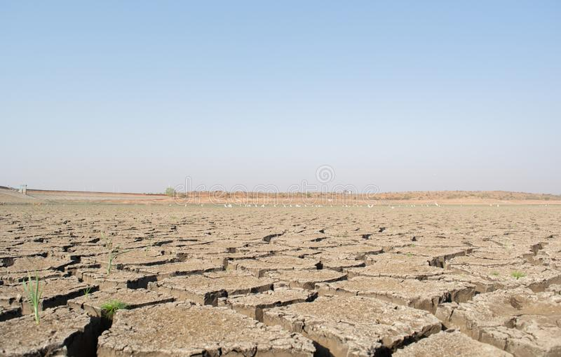 Een opgedroogde lege reservoir of een dam tijdens een de zomerhittegolf, een lage regenval en een droogte in het noordenkarnataka stock foto's