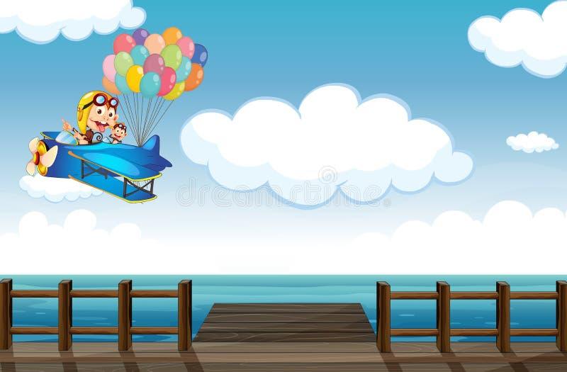 Een opschepperige aap die op een vliegtuig vliegen stock illustratie