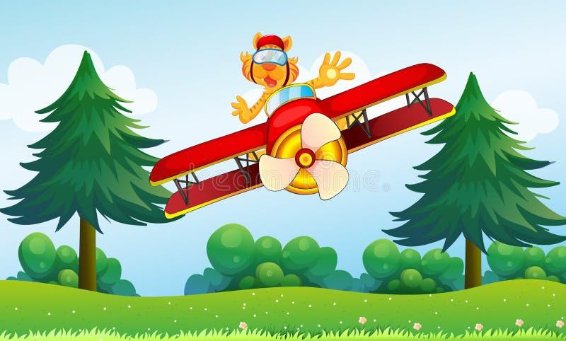 Een opschepperige tijger die in een vliegtuig berijden stock illustratie