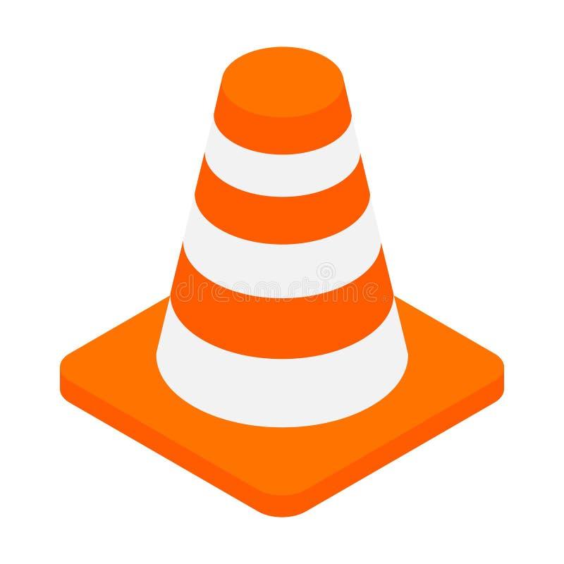 Een oranje de kegel isometrisch 3d pictogram van het weggevaar vector illustratie