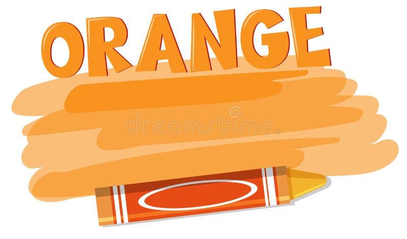 Een oranje kleurpotlood op witte achtergrond royalty-vrije illustratie
