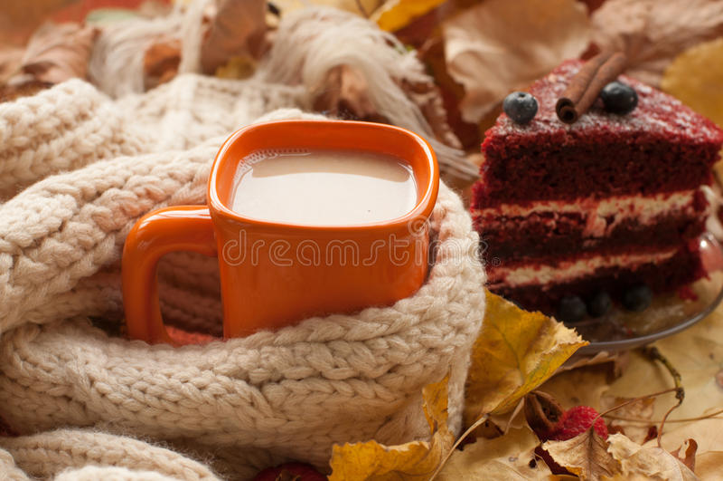 Een oranje kop van melkthee, een beige gebreide sjaal, een stuk van het apetizing van cake met bosbessen, droge boombladeren, heu royalty-vrije stock afbeelding