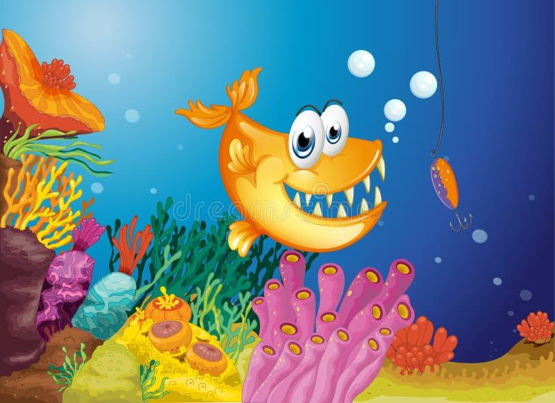 Een oranje vis en een kleine die vis in een aas wordt gevangen vector illustratie