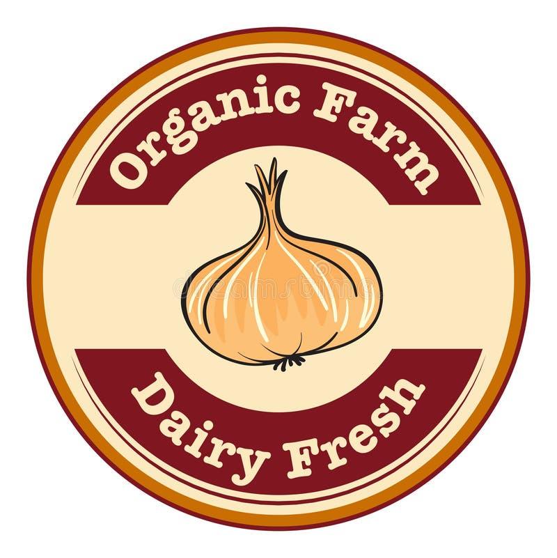 Een organisch landbouwbedrijf en een zuivel vers etiket royalty-vrije illustratie