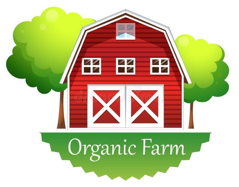Een organisch landbouwbedrijfetiket met een rood blokhuis vector illustratie