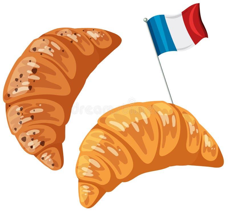 Een Origineel Frans Croissant op Witte Achtergrond stock illustratie
