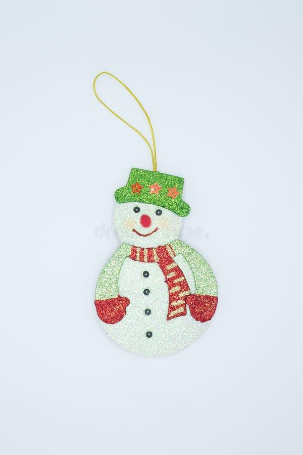 Een ornament van sneeuwmankerstmis voor het hangen op een Kerstboom, tijdens dit feestelijke seizoen royalty-vrije stock fotografie