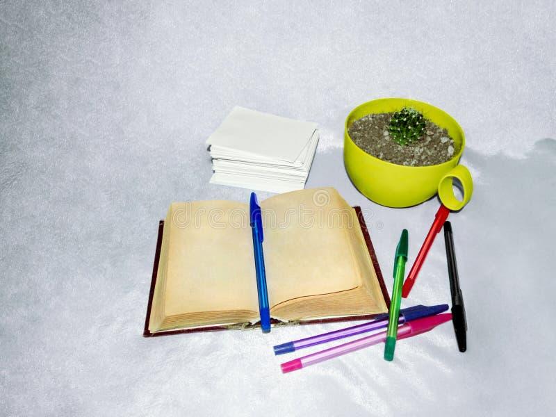 Een oud boek met vergeelde pagina's, multi-colored pennen, een stapel van Witboek en cactus royalty-vrije stock fotografie