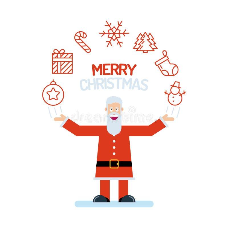 Een oud de mensenkarakter van Santa Claus in rood met zijn omhoog handen De vrolijke Kerstmispictogrammen worden geschikt in een  vector illustratie