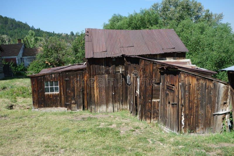 Een oud goldrushhuis in Idaho royalty-vrije stock foto
