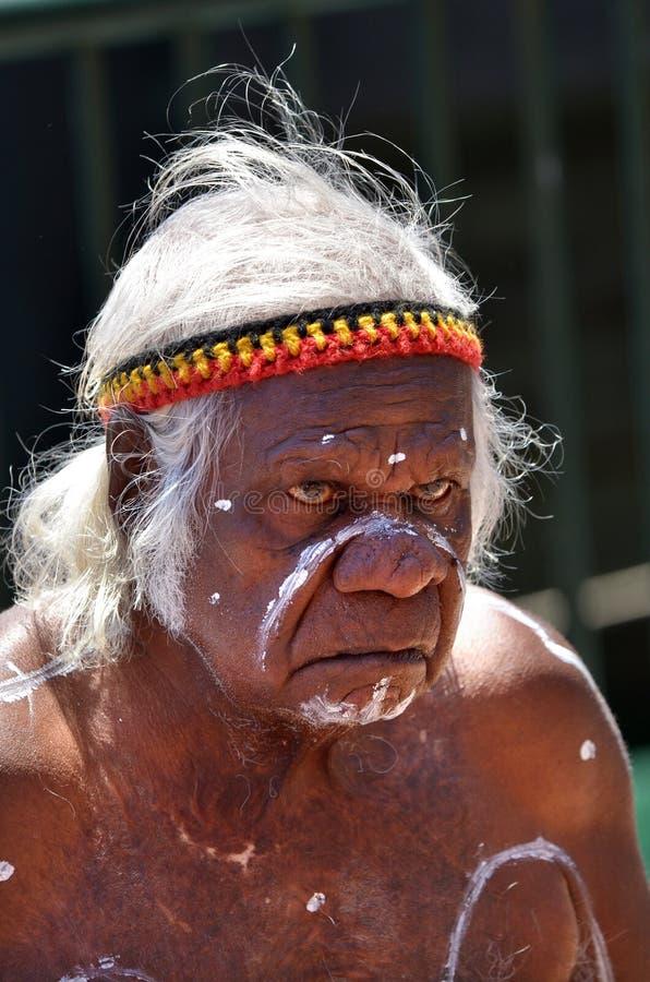 Een oud Inheems Inheems Australisch mensenportret stock foto