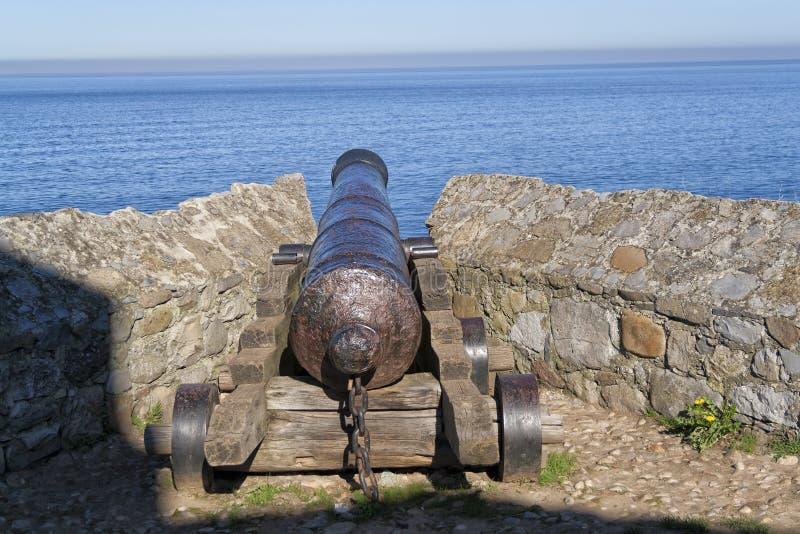 Een oud kanon stock afbeeldingen