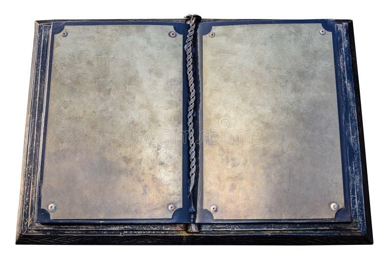 Een oud metaalboek Blanco pagina's van een oud boek royalty-vrije stock afbeeldingen