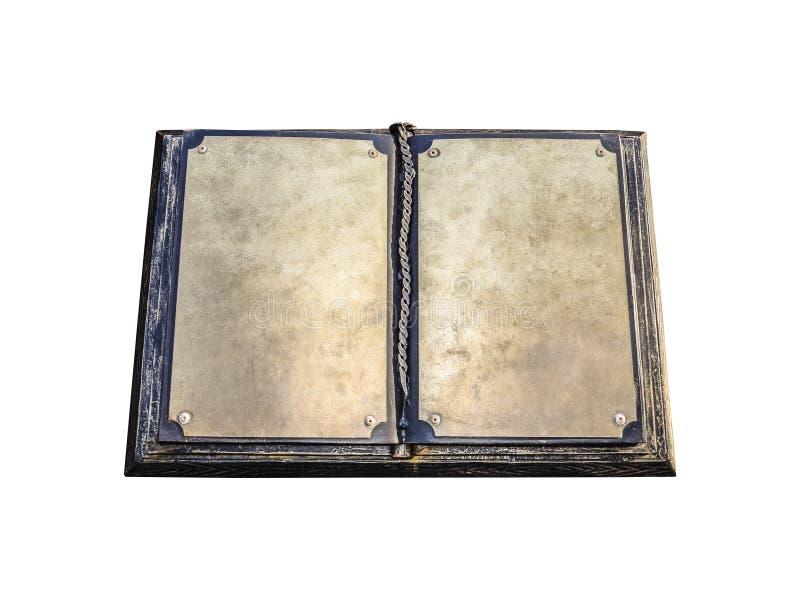 Een oud metaalboek Blanco pagina's van een oud boek stock foto's