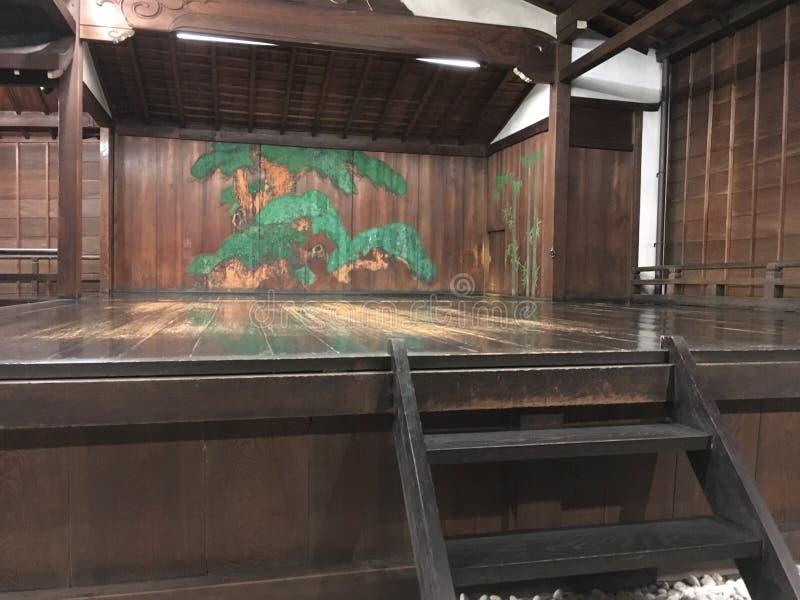 Een oud Noh-theater in Kyoto stock afbeelding