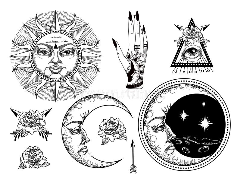 Een oude astronomische illustratie van de zon, de maan, de sterren, nam toe royalty-vrije illustratie