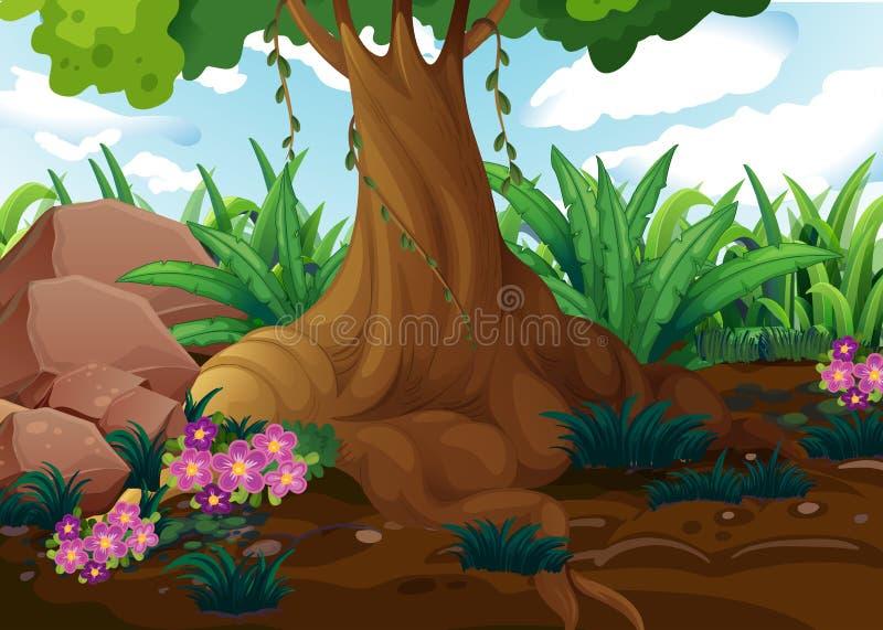 Een oude boom bij de wildernis vector illustratie