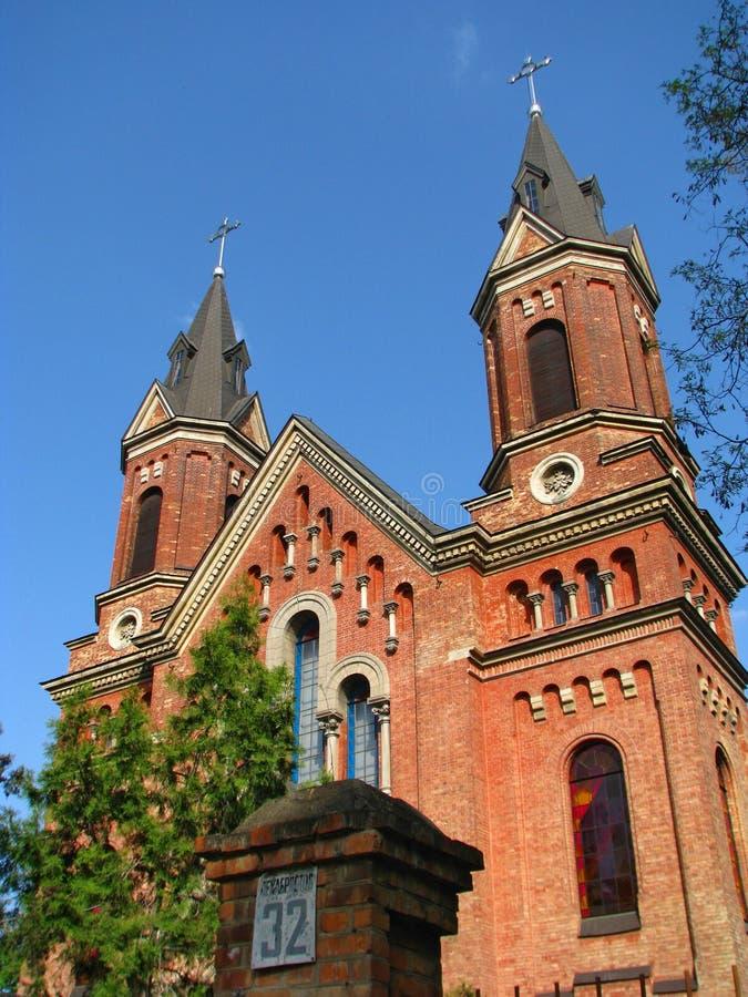 Een oude Katholieke kerk in een provincie in het zuiden van de Oekraïne royalty-vrije stock afbeeldingen