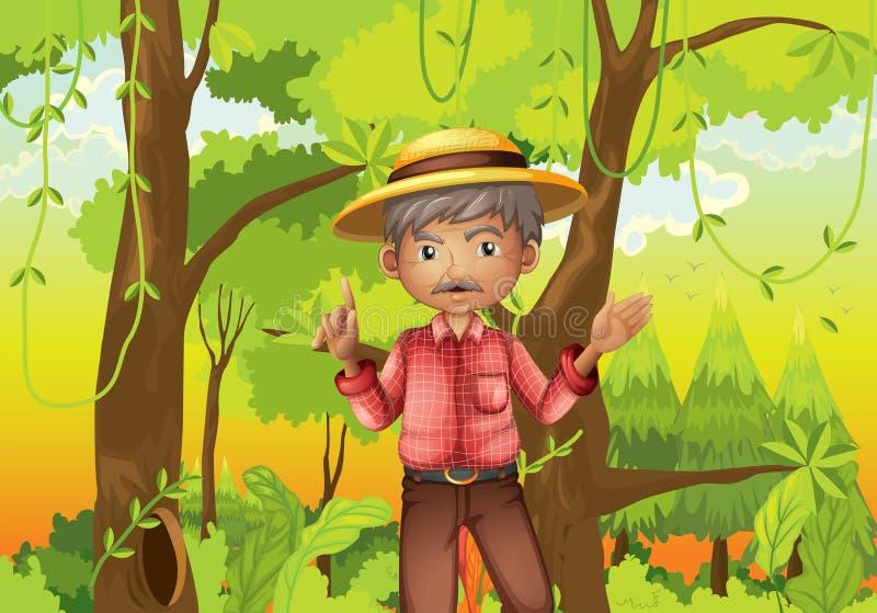 Een oude mens die zich in het midden van het bos bevinden royalty-vrije illustratie