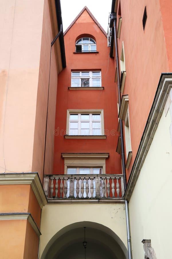 Een oude stad in het centrum van Wroclaw, historische gebouwen royalty-vrije stock fotografie