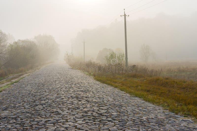 Een oude steenweg in Oekraïener stock afbeeldingen