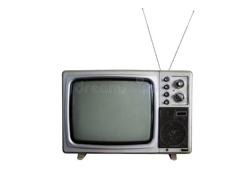 Een oude TV op witte achtergrond stock afbeelding