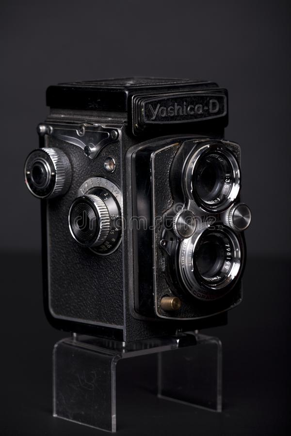 Een oude Tweeling de Lens Reflextlr camera van Yashica stock fotografie