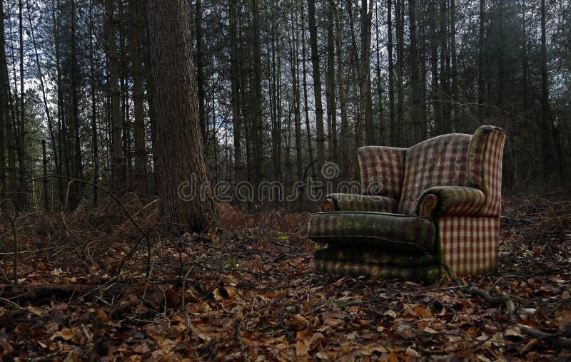 Een oude verworpen Stoel is stortplaats illegaly in het midden van een bos stock fotografie