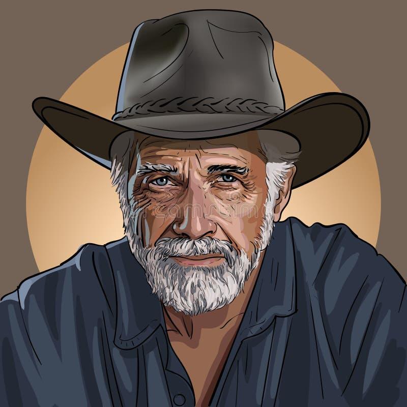 Een oude wijze cowboy in een hoed royalty-vrije illustratie