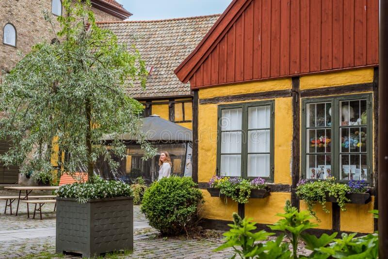 In een oude yard in de oude stad van Malmoe, Zweden stock foto's