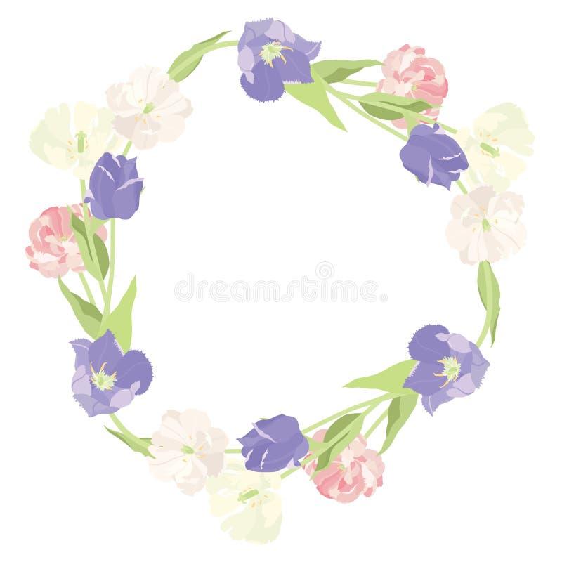 Een overweldigende kroon van roze en lilac tulpen isoleerde voorwerp stock illustratie