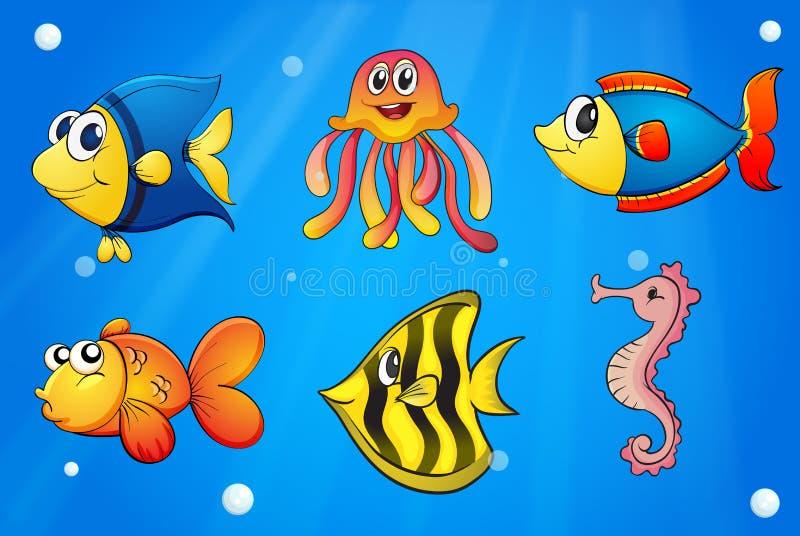 Een overzees met kleurrijke schepselen stock illustratie
