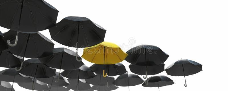 Een overzees van zwarte paraplu maar gele die duidelijk uitkomen royalty-vrije stock afbeelding
