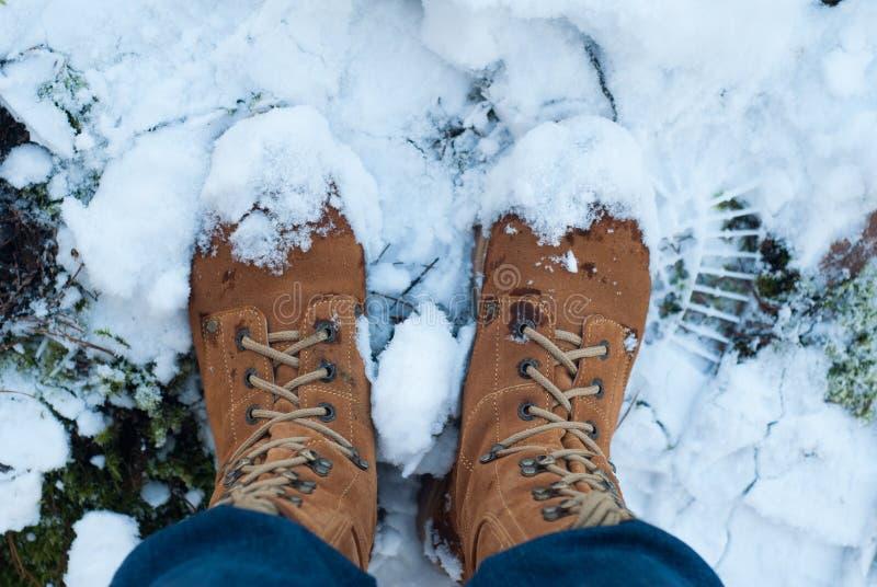 Een paar benen in bruine militaire laarzen in de sneeuw, royalty-vrije stock fotografie