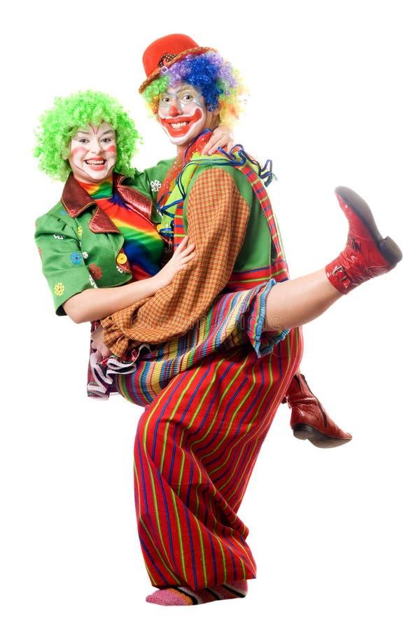 Een paar blije clowns stock foto's