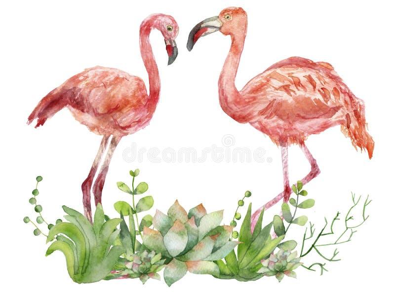 Een paar die roze waterverfflamingo's elkaar onder ogen zien Met de hand geschilderde illustratie met roze flamingo's die door su stock illustratie
