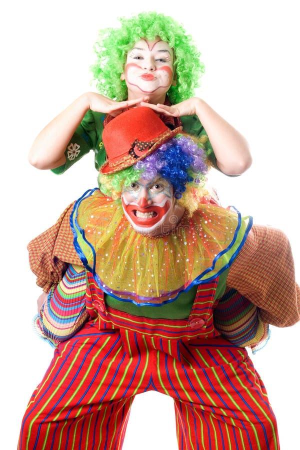 Een paar grappige clowns royalty-vrije stock afbeelding