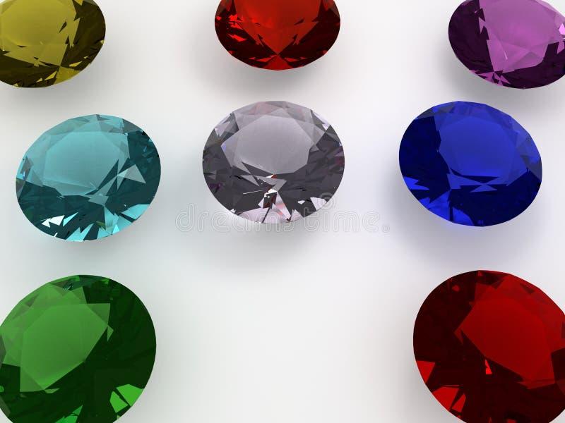 Een paar grote gekleurde diamanten royalty-vrije illustratie
