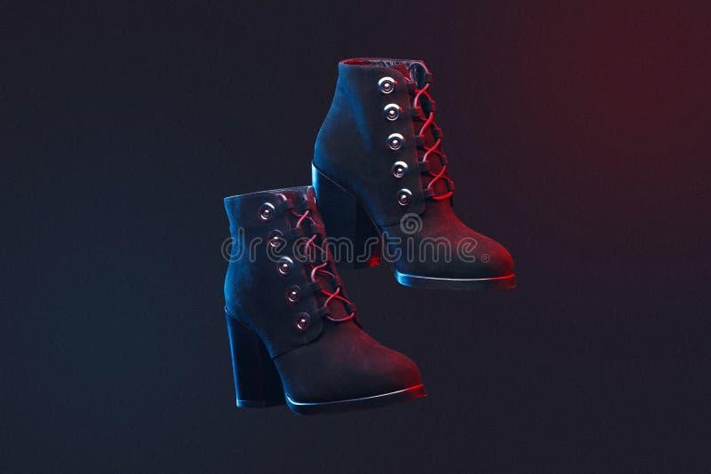 Een paar laarzen van de warme vrouwen van het de herfst zwarte suède op donkere achtergrond stock fotografie