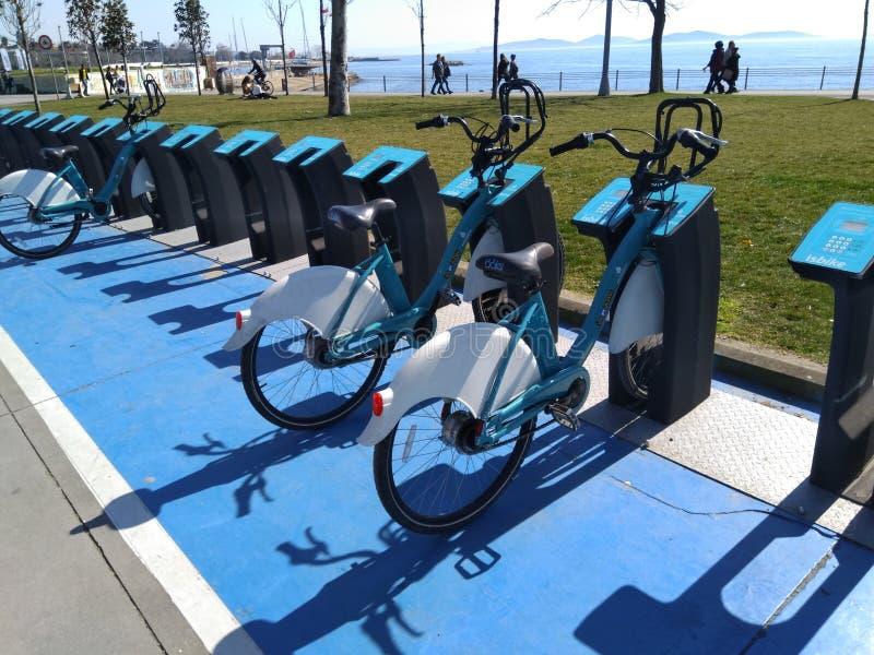 Een paar leuke fietsen voor huur die dichtbij het overzees worden geparkeerd royalty-vrije stock foto