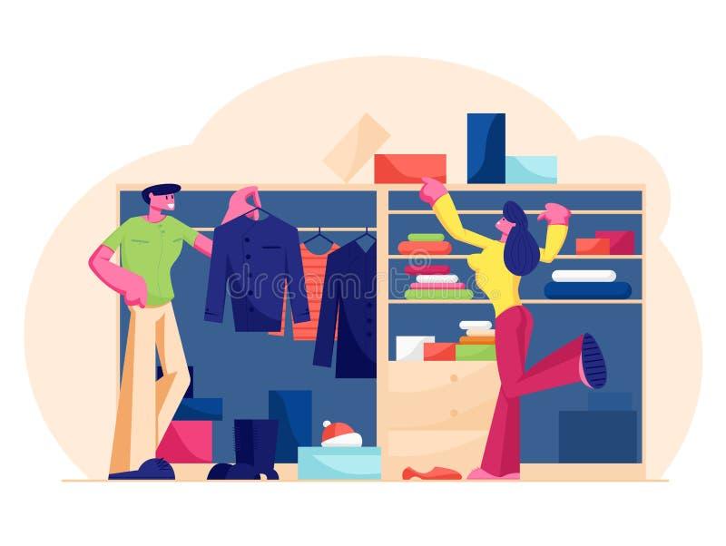 Een paar mannen en vrouwen staan in Wardrobe bij Home Choosing Dress en Footwear Hanging and Lying on Shelves vector illustratie