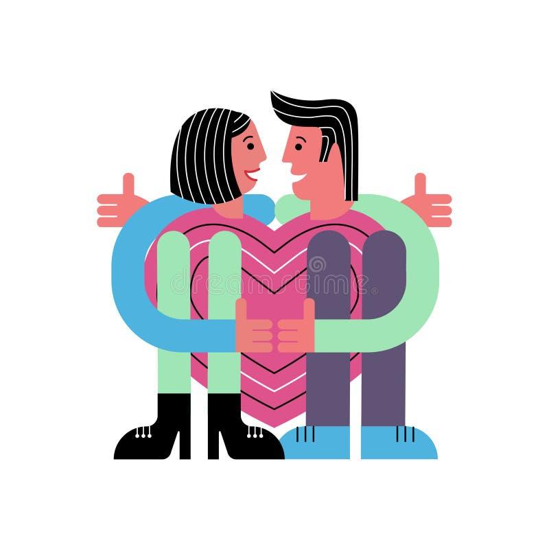 Een paar minnaars die een hart koesteren Man en Vrouw Kaart voor valentijnskaart` s dag Abstracte mensen Vector illustratie stock illustratie