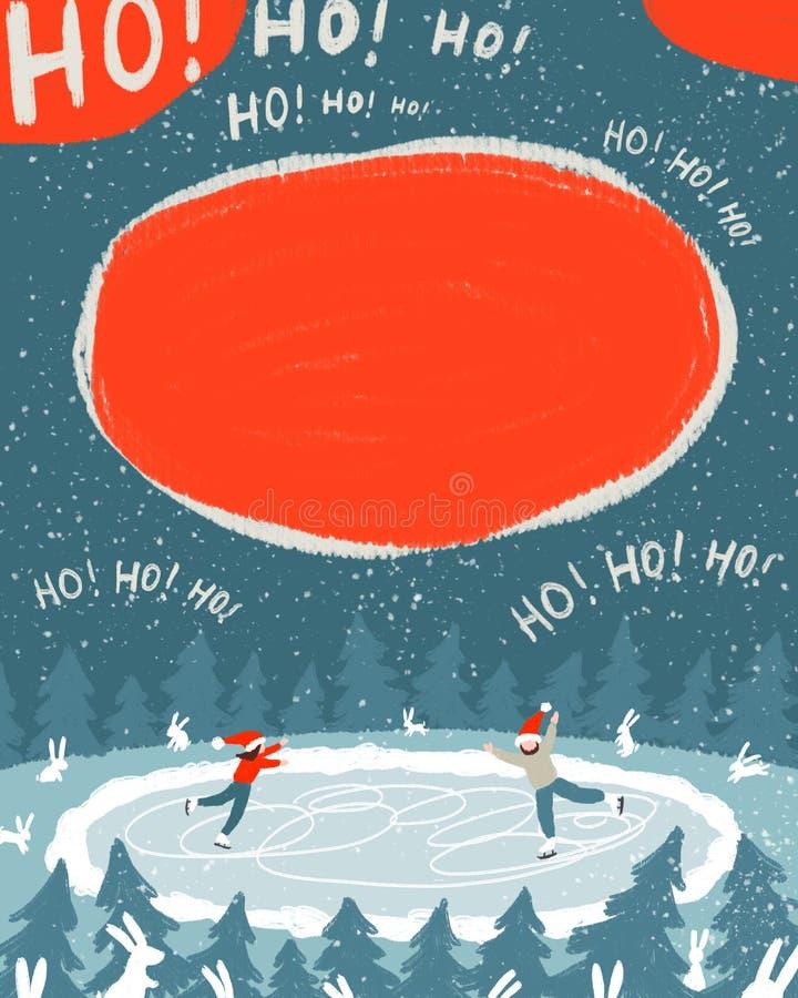 Een paar minnaars schaatst bij nacht in het hout op het ijs stock illustratie