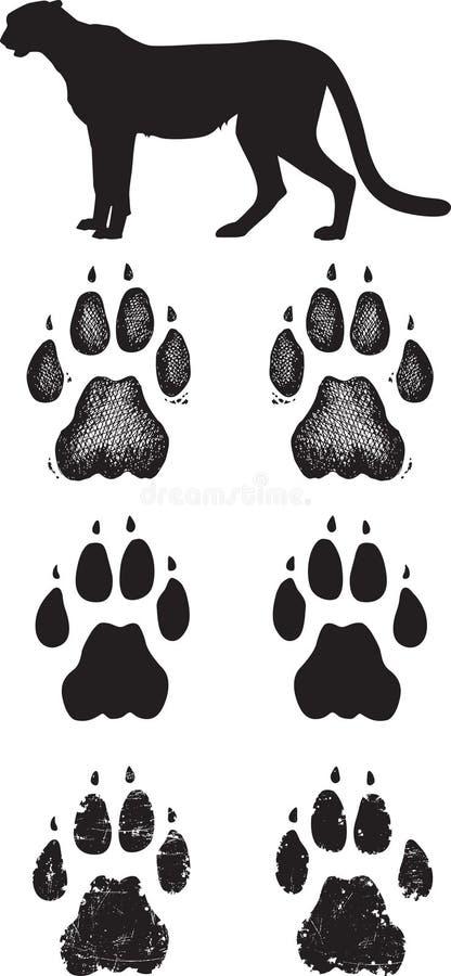 Realistische jachtluipaardsporen of voetafdrukken royalty-vrije illustratie