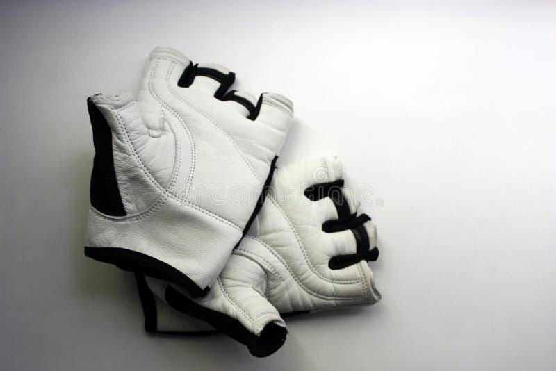 Een paar sporthandschoenen op een witte achtergrond royalty-vrije stock afbeeldingen